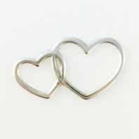 2 Sterling Silver double Heart Charms